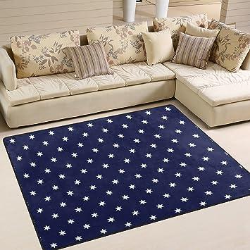 Ingbags Super Doux moderne Bleu marine Motif étoiles Blanc ...