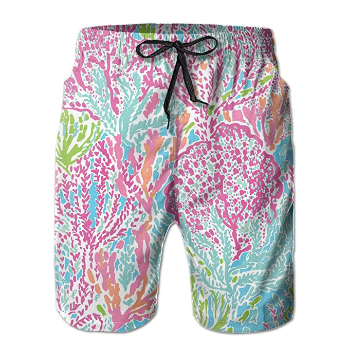 0930a08be5 Lilly Pulitzer Print Men's Casual Shorts Swim Trunks Summer Beachwear  Swimsuits Golf Shorts | Amazon.com