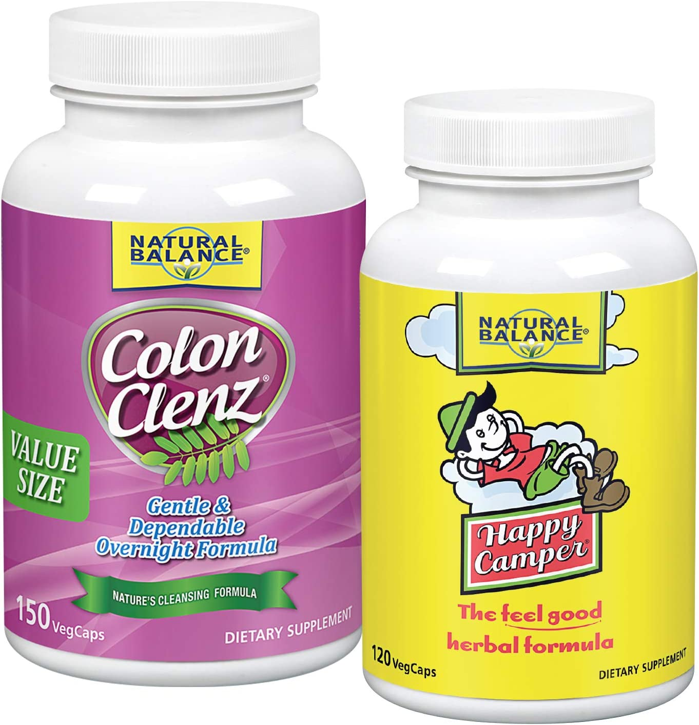 Natural Balance Colon Clenz & Happy Camper Bundle | Herbal Cleanse & Stress Support | 150 Capsules, 120 Capsules