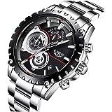 Relojes para Hombres,LIGE Hombres Acero Inoxidable Resistente al Agua Deportes Reloj De Cuarzo Analógico