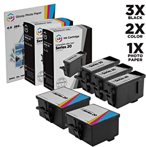 LD Compatible Ink Cartridge Replacement for Dell Photo P703W Series 20 (3 Black, 2 Color, 5-Pack)