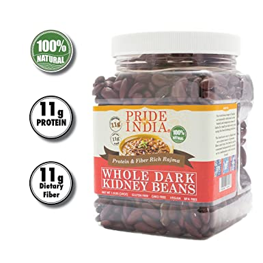 Pride Of India - Whole Dark Kidney Beans - Contains 1.5 lbs (680 gm) Jar - Se utiliza mejor en tacos, ensaladas, curry, arroz hervido, etc., bajo en ...