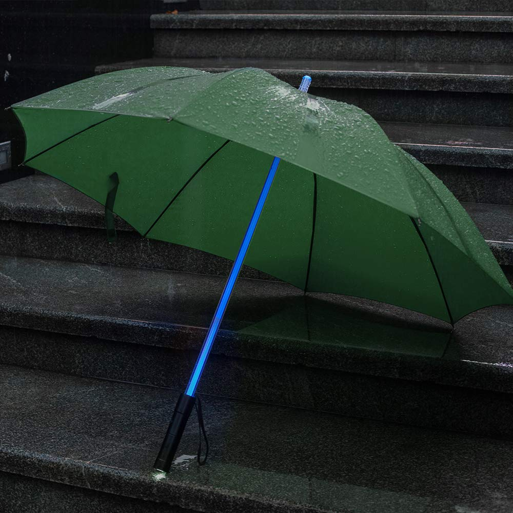 BESTKEE Lightsaber Umbrella - LED Laser Sword Golf Umbrellas with 7 Color Changing On The Shaft/Built in Torch at Bottom (Green)