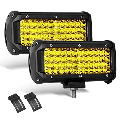 2 PCS 7 Inch Yellow Led Light Bars 96 PCS Led 13824LM Quad Row Waterproof Spot Led Pod Fog Driving Light on Rainy Snowy Day for Truck Off Road Jeep SUV Front Bumper UTV ATV: Automotive