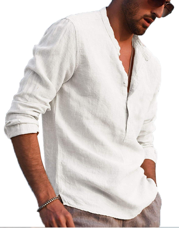 LecGee Mens Cotton Linen Henley Shirt Long Sleeve Casual T-Shirt Beach Yoga Tops