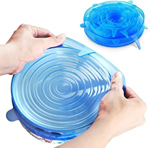 Silicone Stretch Lids, Durable & Eco-Friendly Elastic Lids Reusable Heat Resistant Various Sizes Cover for Bowl - 6 Pack (Blue)
