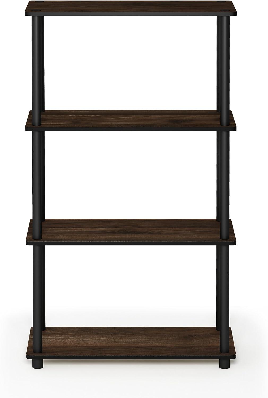 FURINNO Turn-N-Tube 4-Tier Multipurpose Shelf Display Rack, Single, Columbia Walnut/Black