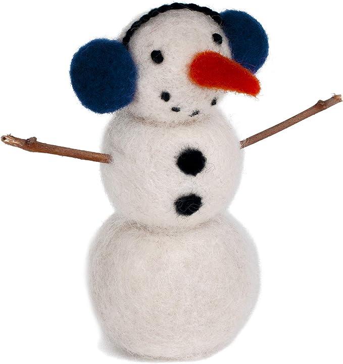 Snowman with hat and scarf christmas decoration cute snowman snowman needle felt snowman