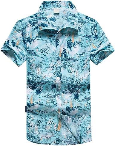 VJGOAL Camisa Hawaiana para Hombre Botón de Solapa Manga ...