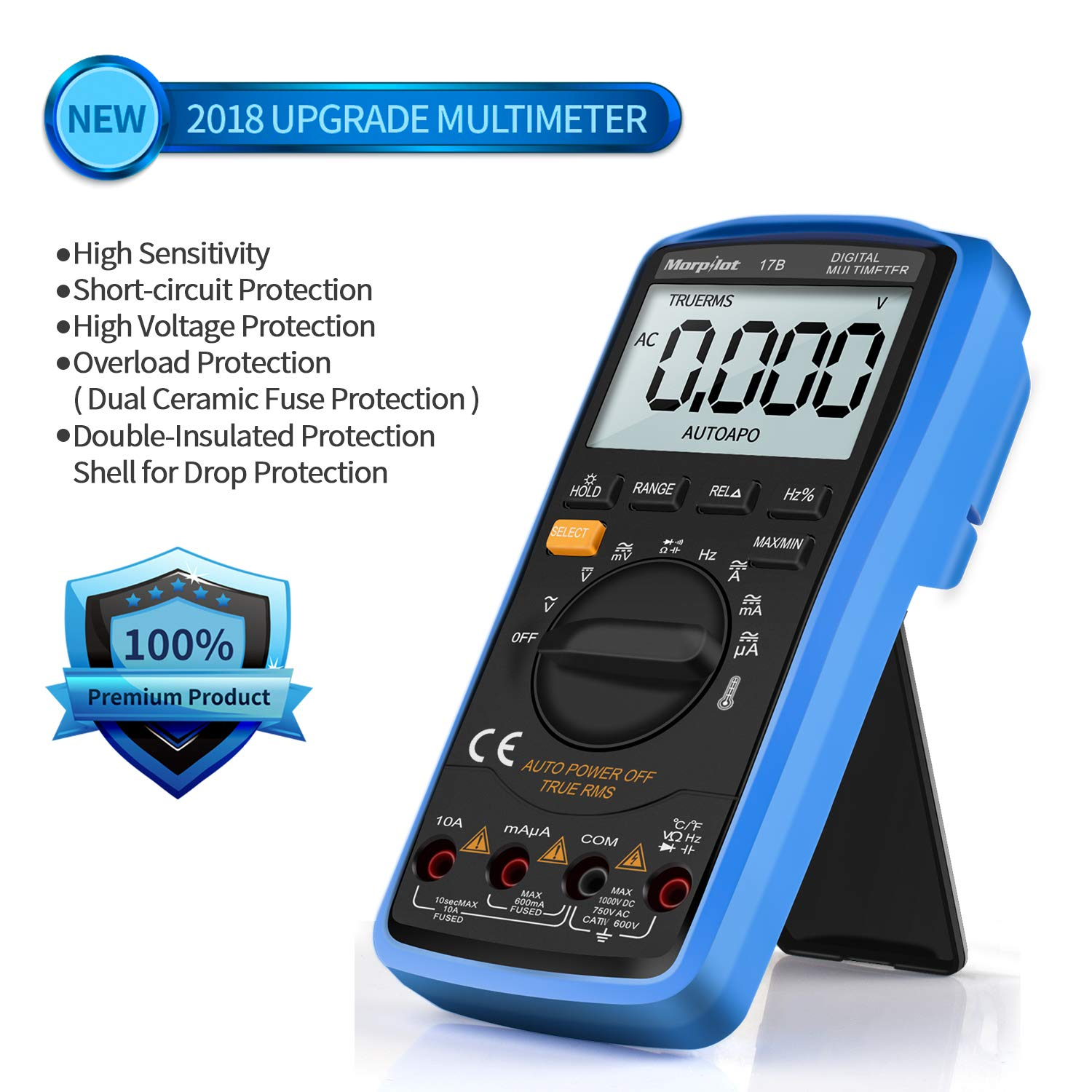 Multimeter Morpilot Trms 6000counts Digital Ohmmeters Manual And Frequency To Voltage Converter Change Your Voltmeter Auto Ranging Measures Current Resistance Continuity Capacitance
