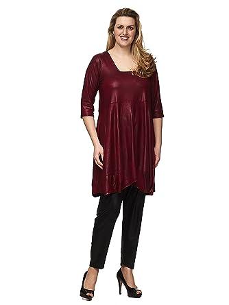 Magna - Damen Übergröße Ballondesign Tunika Kleid Lederoptik mit  Trapez-Ausschnitt Farbe Bordeaux  Amazon.de  Bekleidung 1981846f09