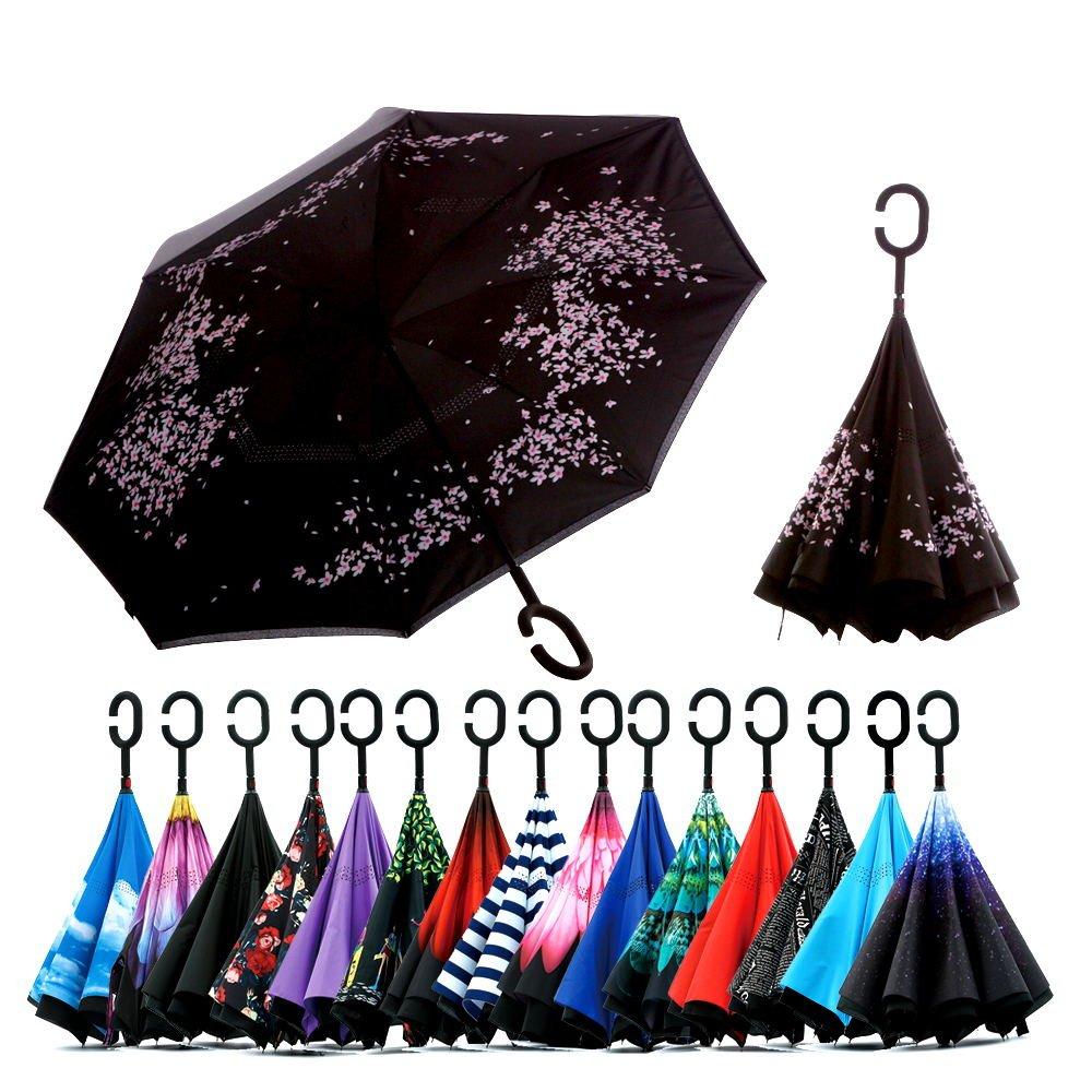 -Paraguas reversible Spar.Saa de doble capa con manija en forma de «c», paraguas recto a prueba de viento, impermeable, anti-UV, para llevar en el coche ...