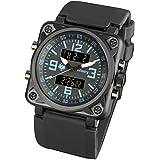 Infanterie Homme analogique–Digital montre bracelet chronographe Bleu Alarme Sport Bracelet en caoutchouc Noir