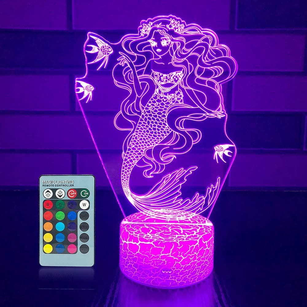 Mermaid Night Light 16 Colors Changing 3D Optical