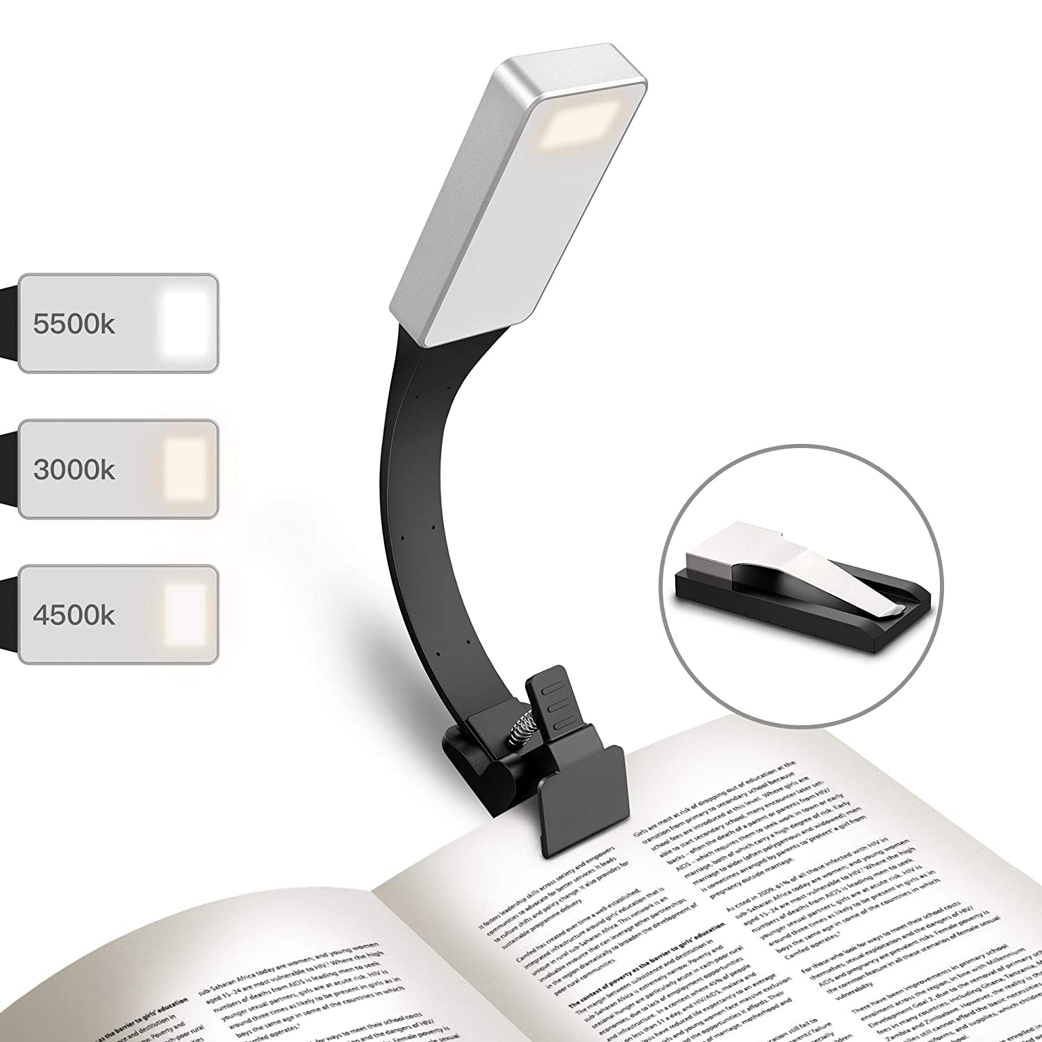 GeeRic LED Reading Light USB Rechargeable Book Light 2018 Upgraded Veision 50 Lumens 3 Brightness Levels Reading Lamp with Clip for iPad/ Kindle/eBook Reader and Books LRLB