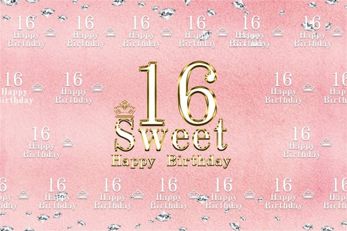 Yeele Sweet 16 Birthday Backdrop Diamond Party 10x8ft Step and Repeat 16 Photography Background Daughter Son Photo Booth Princess Girls Portrait Dessert Table Decor Photoshoot Props Wallpaper