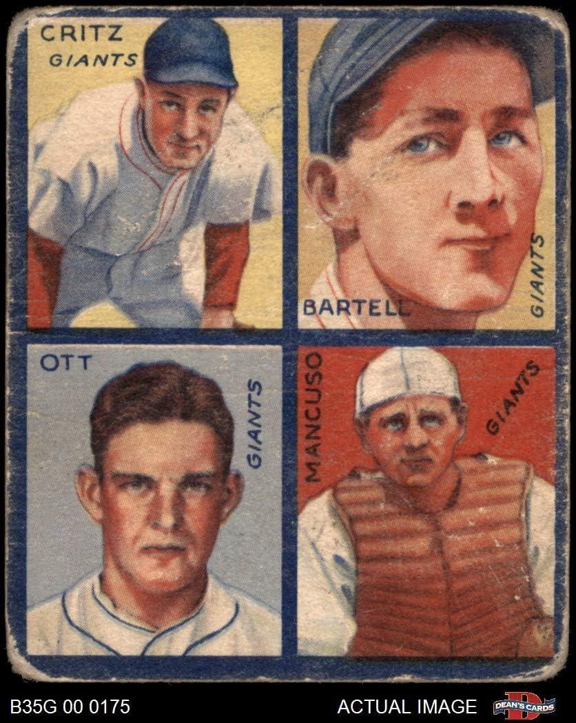 1935 Goudey Dick Bartell/Hughey Hughie Hugh Critz/Gus Mancusco/Mel Ott neu York Giants (Baseball Card) Dean'S Cards 1.5 - Fair Giants