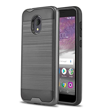 Phone Case for [ALCATEL TCL LX (A502DL)], [Protech Series][Gun Metal]  Shockproof Cover [Impact Resistant][Defender] for Alcatel TCL LX (Tracfone,