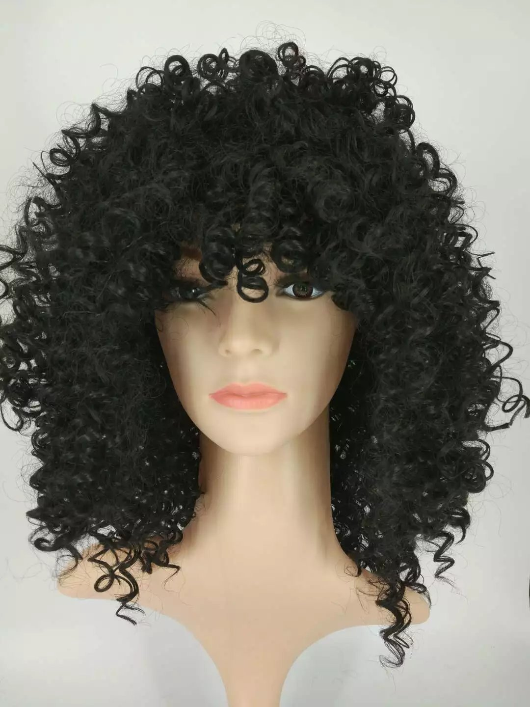 Amazon.com : Hot Short Wigs For Black Women Kinky Curly Synthetic Wigs Natural Cheap Hair Wig With Bangs Pelucas Baratas (Black) : Beauty