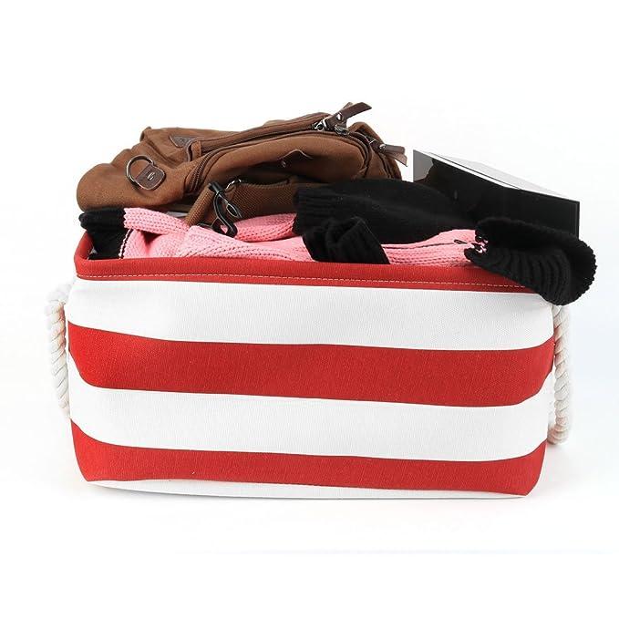 ... la cesta de lavadero, dormitorio Organizador plegable Bin w doblan las manijas Para Office, Closet, cocina de juguete Ropa (Rojo, S): Home & Kitchen