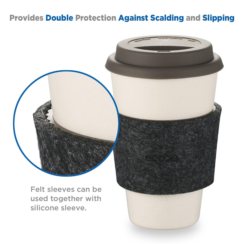 Taza de Café para Llevar de Fibra de Bambú Reutilizable / Ecológica / Biodegradable de Ecooe con la Tapa, Taza de Café para Llevar para la Conmutación entre ...