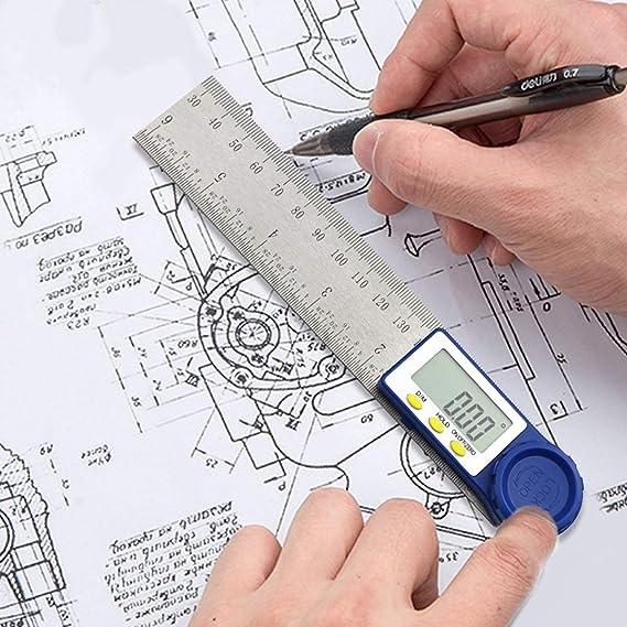 7 pollici Angle Finder Righello in acciaio inossidabile con funzione HOLD e Zeroing Ampio display LCD Goniometro Digitale