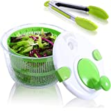 Large Salad Spinner with Free Silicone Tongs - 5 QT Manual Lettuce Spinner with Secure Lid Lock & Rotary Handle, Vegetable Wa