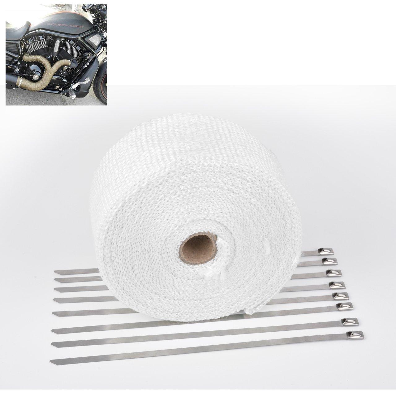 8PCS 11.8 inch Stainless Locking Ties NATGIC 15M Car Motorcycle Exhaust Heat Wrap Tap Header Glassfiber Wrap Kit 2 x50Ft Blue