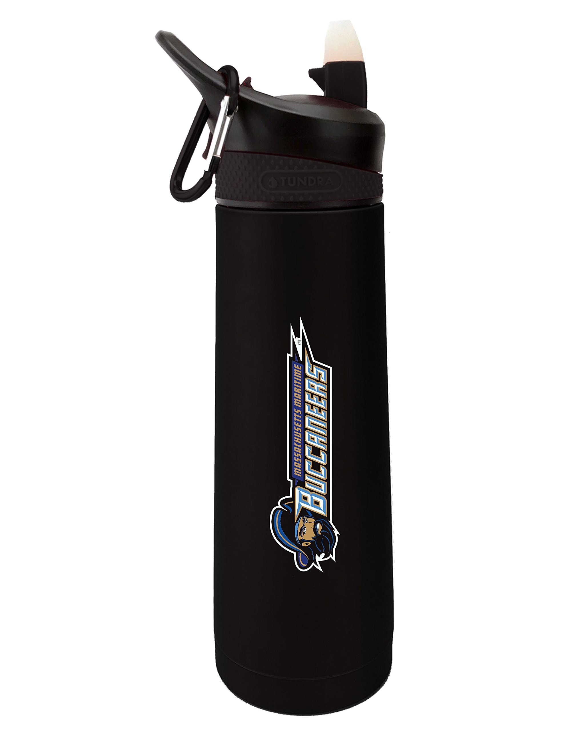 Fanatic Group Massachusetts Maritime Academy Dual Walled Stainless Steel Sports Bottle, Design 1 - Black