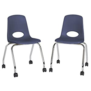 "FDP 18"" Mobile School Chair with Wheels for Kids, Teens and Adults; Ergonomic Seat for in-Home Learning, Classroom or Office - Navy (2-Pack)"