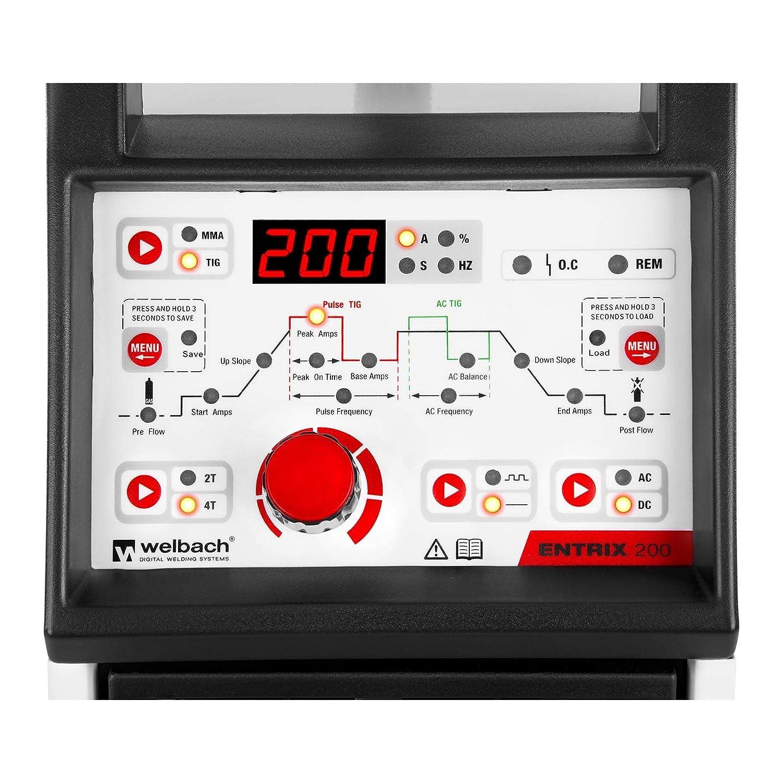 Welbach Soldador de aluminio WIG AC-DC/MMA ENTRIX 180 (180 A / 230 V, Digital, Programable, Función pulso, 2/4 tiempos, Hot Start): Amazon.es: Bricolaje y ...