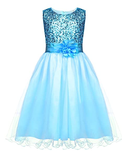 a3db698197d HOTOUCH Flower Girls  Sequin Tulle Wedding Pageant Party Dress Blue 5T
