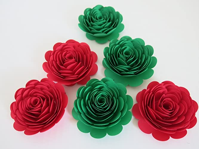Amazon red and green handmade paper flowers set of 6 big 3 red and green handmade paper flowers set of 6 big 3quot roses mightylinksfo
