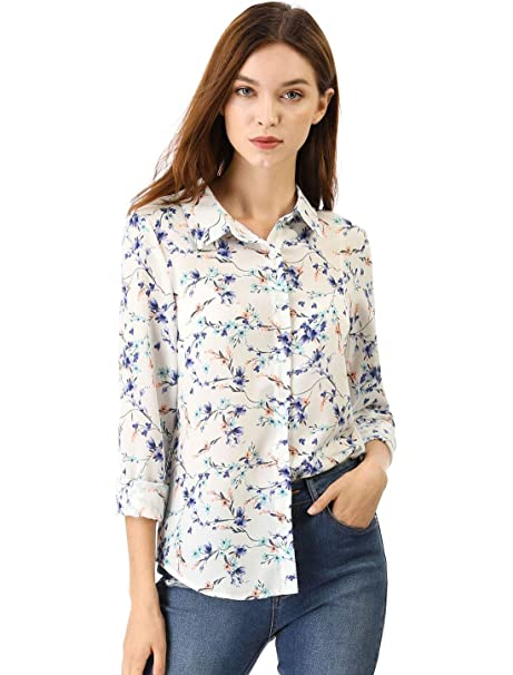 d26e7fe610b Allegra K Women s Point Collar Button Down Floral Shirt at Amazon ...