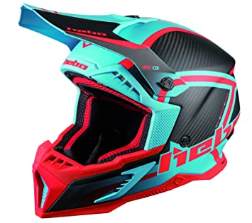 Hebo MX Legend Carbon Casco Enduro, Adultos Unisex, Turquesa, Medium