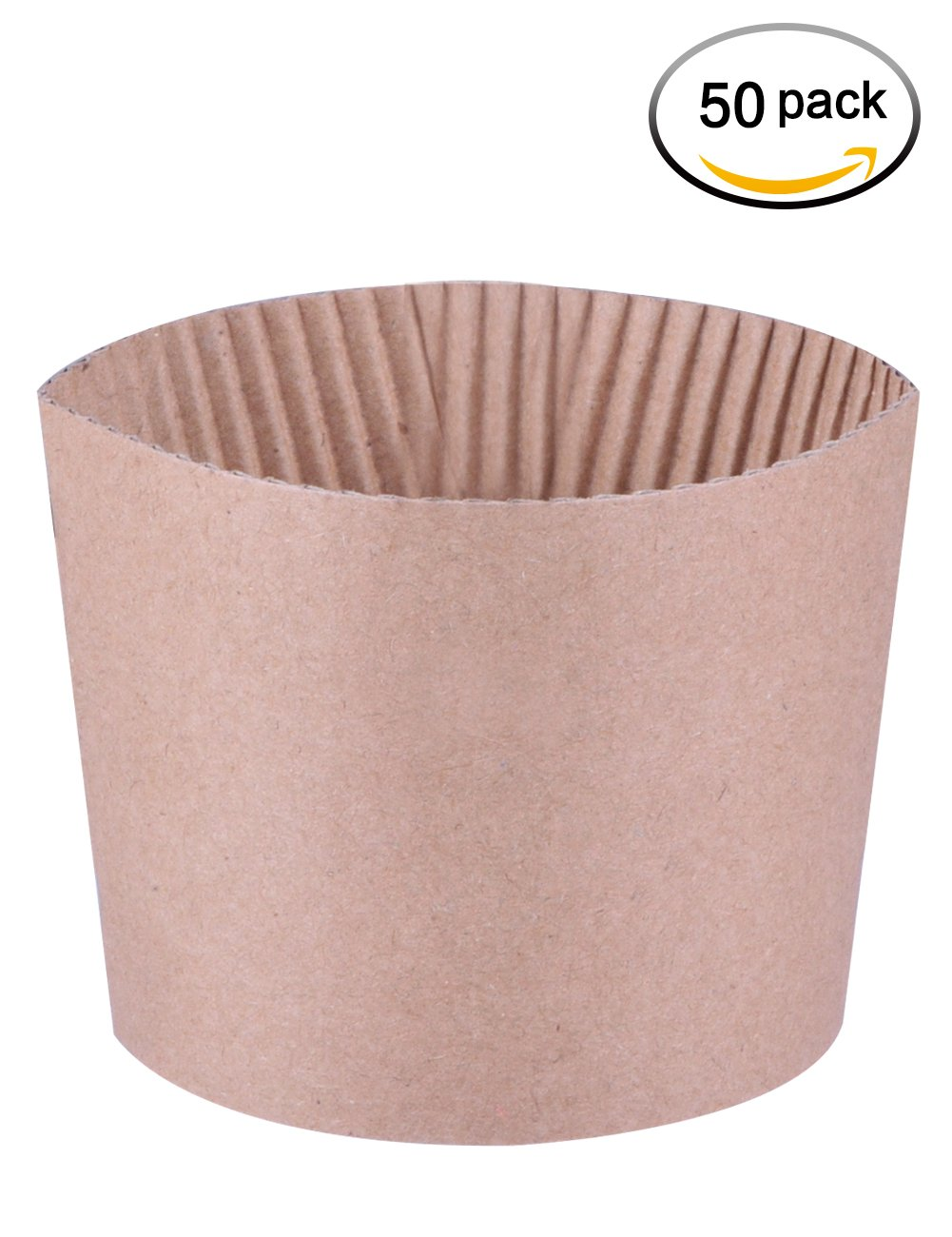 Luckypack 50 Count Cup Sleeve Corrugated Jacket Cafe Drink  Disposable Paper Coffee Cup Sleeves Reusable Holder Cardboard For Hot Drinks, 12oz./16 oz./20 oz.