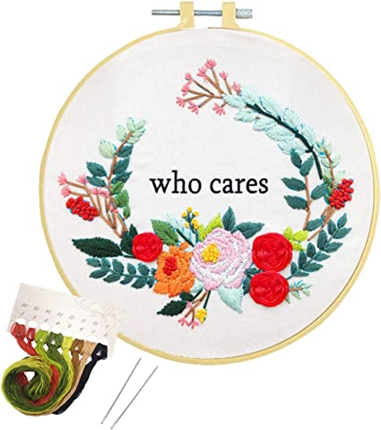 Artilife Embroidery Starter Kit Cross Stitch Kit for Adults Beginners Stamped Embroidery Kits with Pattern for Kids Crafts Embroidery Hoops Floss Thread Needles