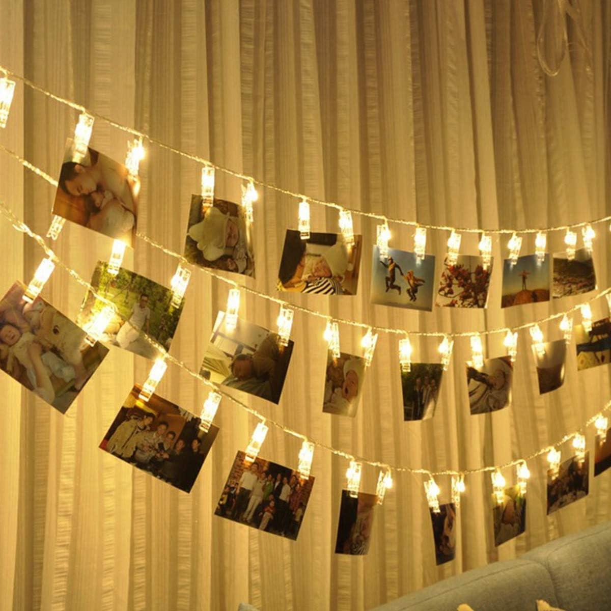 Au/ßen,Weihnachten,Party,Hochzeit Batteriebetrieben,Warmwei/ß 6M 40 LED Photoclips,Foto-Clip Licht f/ür Zimmer Lichterketten,Innen Fulighture Led Foto Lichterkette,Stimmungsbeleuchtung Dekoration