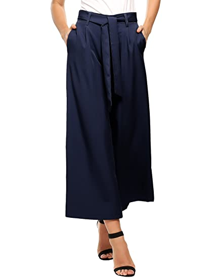 2d915d102a72d8 Beyove Damen Sommerhose lang Weite Hose gestreifte Hose Palazzo mit  Eingrifftaschen Schlabberhose  Amazon.de  Bekleidung