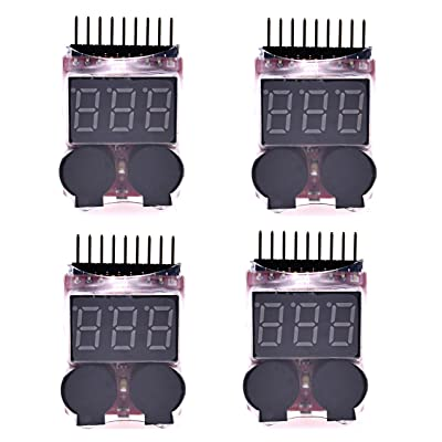 Readytosky RC 1-8s Lipo Battery Tester Monitor Low Voltage Buzzer Alarm Voltage Checker with LED Indicator for Lipo Life LiMn Li-ion Battery(4PCS): Toys & Games
