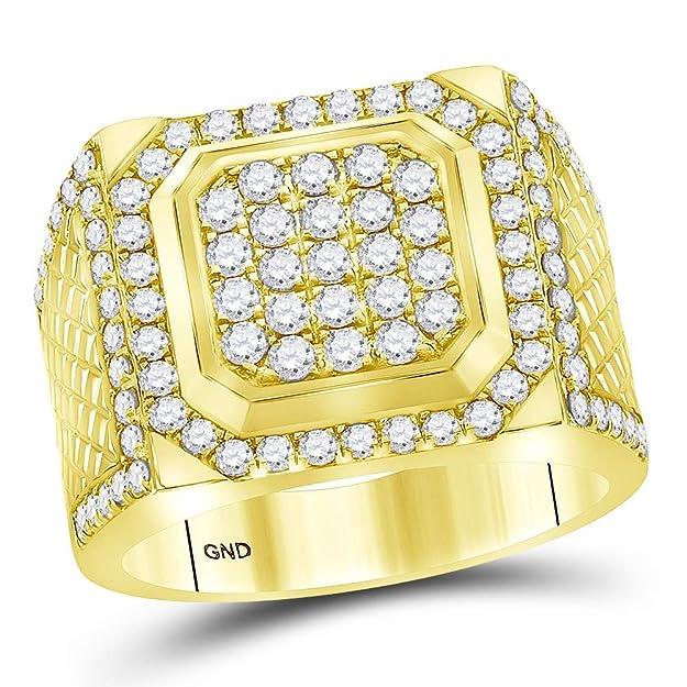 Anillo cuadrado de oro amarillo de 14 kt para hombre redondo diamante 2,0 kthttps://amzn.to/2HSmxLa