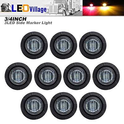 10 Pcs TMH 3/4 Inch Surface Mount Smoked Lens 5 Amber & 5 Red LED Clearance Markers Bullet Marker lights, side marker lights, led marker lights, led trailer marker lights: Automotive