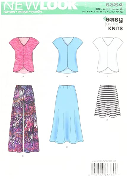 b1d0d21d281534 New Look 6384 Size A Misses  Knit Top Skirt and Pants Sewing Pattern ...