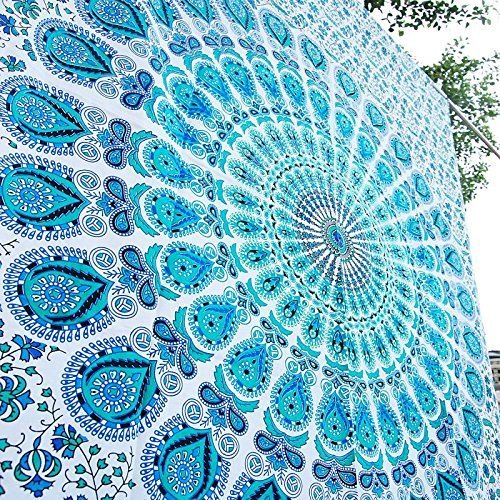 Bless International Indian Hippie Bohemian Psychedelic Peacock Mandala Wall Hanging Bedding Tapestry (Peacock Sky Blue, Queen(84x90Inches)(215x230Cms))