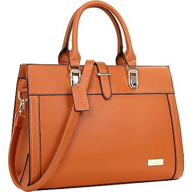 238c25373a Dasein Faux Leather Work Satchel (Brown)  Handbags  Amazon.com