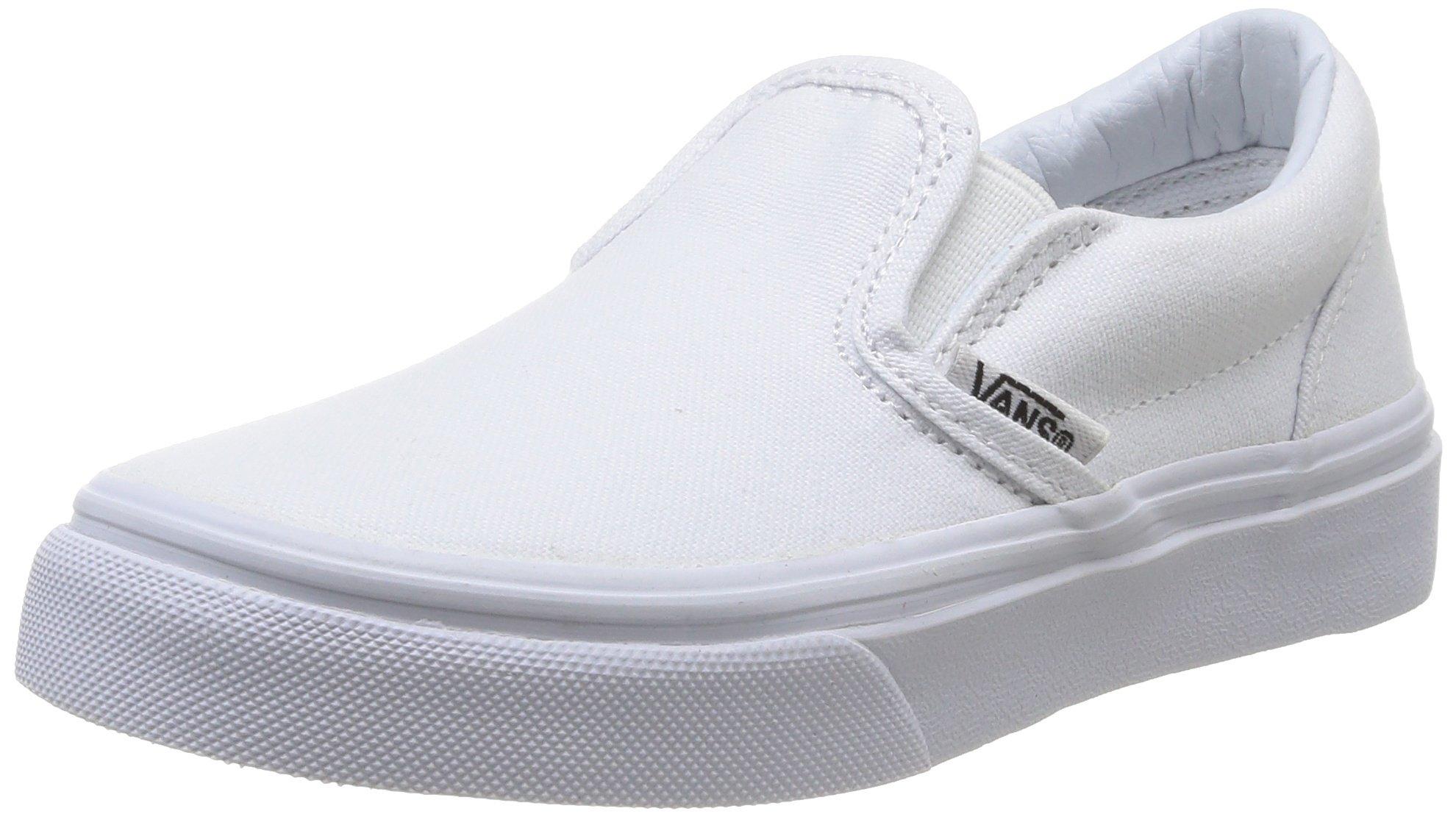 Vans Kids Classic Slip-On (Little Big Kid), True White, 2 M