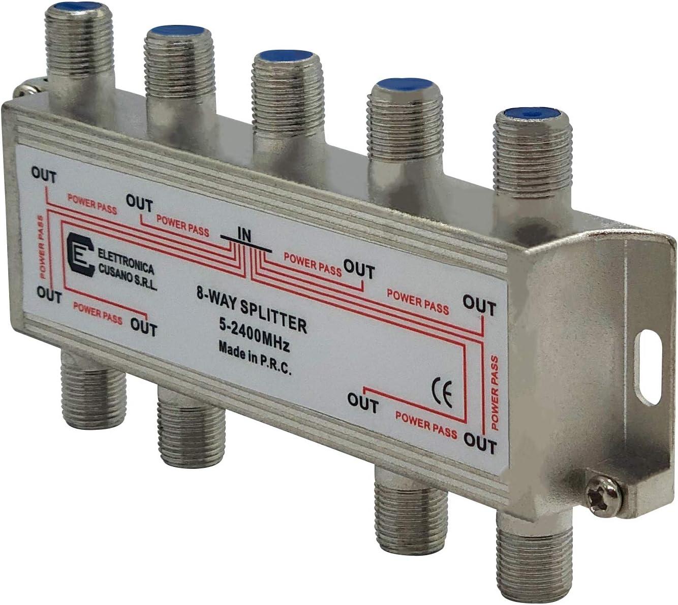6833 – Splitter/Distribuidor de 8 Vías de Interior con Conector EFFE para TV/Satélite