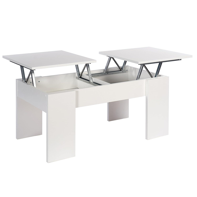 Table basse Ganso - munie de 2 plateaux relevables - couleur blanche - 100 x 50 x 45 cm