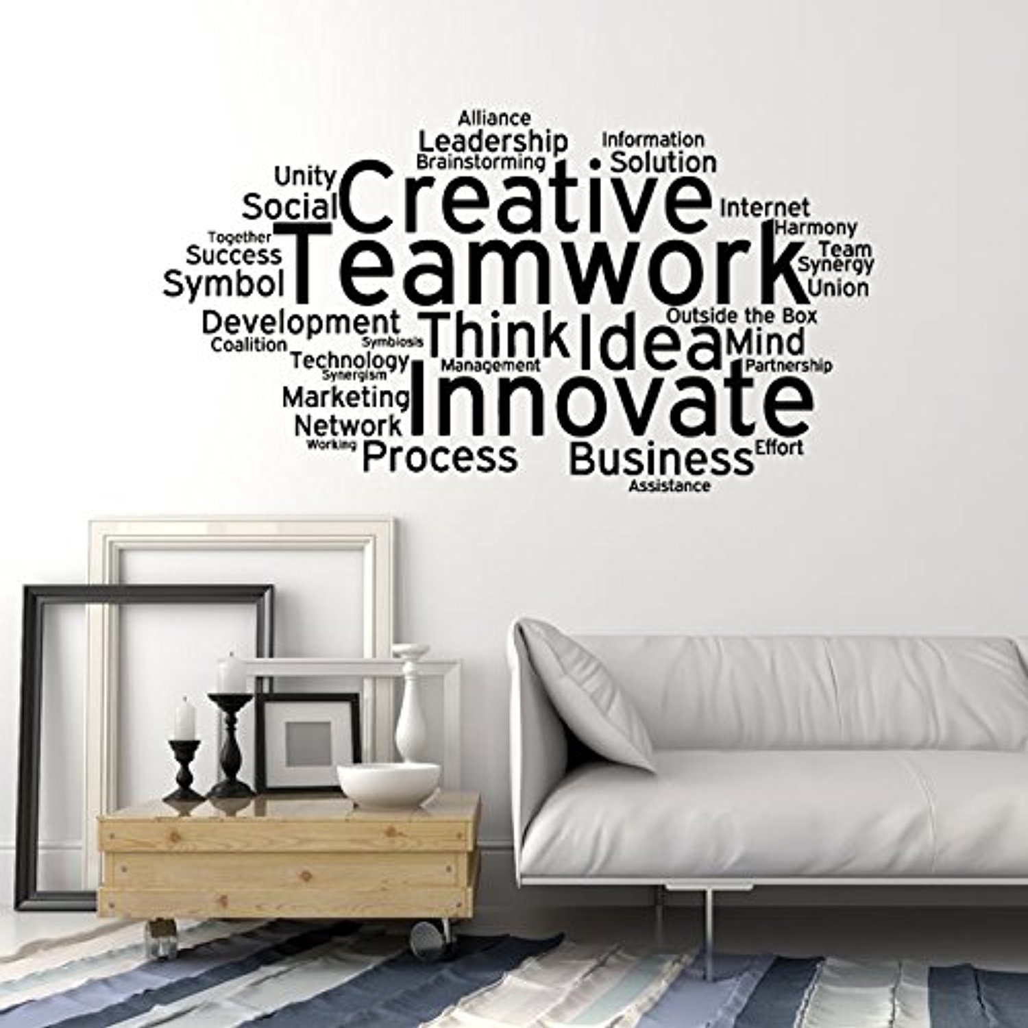 Amazon com art of decals amazing home decor large vinyl wall decal teamwork cloud words office decoration stickers made in the usa removable home