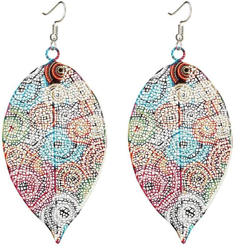 Bobury Muchachas de Las Mujeres Multicolor Hueco cuelga los Pendientes de la Hoja de impresión Hojas de la Gota del oído étnico Regalo de la joyería del Perno Prisionero del Pin
